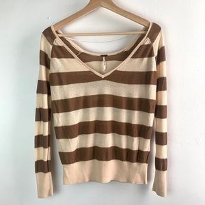 Free People• Lightweight knit stripe v neck top
